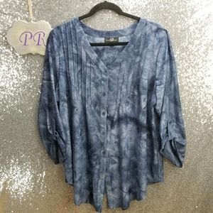 AGB Tie Dye Embroidered Tunic Top Size 2X